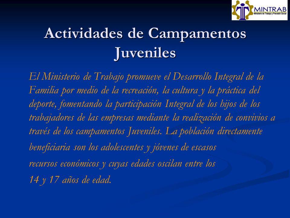Actividades de Campamentos Juveniles El Ministerio de Trabajo promueve el Desarrollo Integral de la Familia por medio de la recreación, la cultura y l