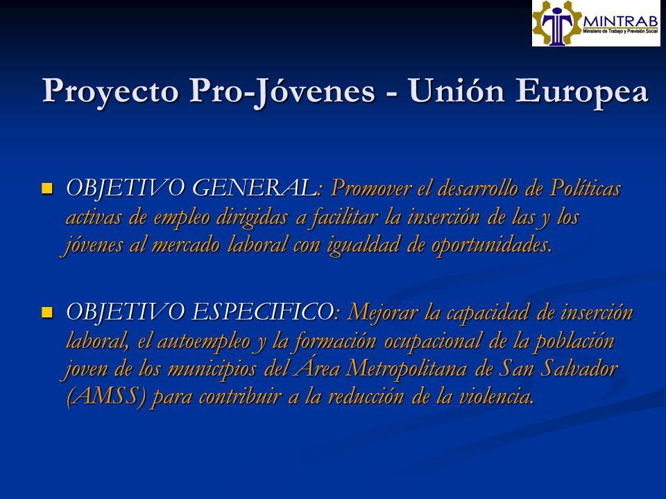 Proyecto Pro-Jóvenes - Unión Europea OBJETIVO GENERAL: Promover el desarrollo de Políticas activas de empleo dirigidas a facilitar la inserción de las