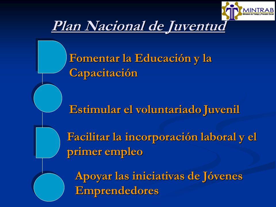 Plan Nacional de Juventud Fomentar la Educación y la Capacitación Estimular el voluntariado Juvenil Facilitar la incorporación laboral y el primer emp