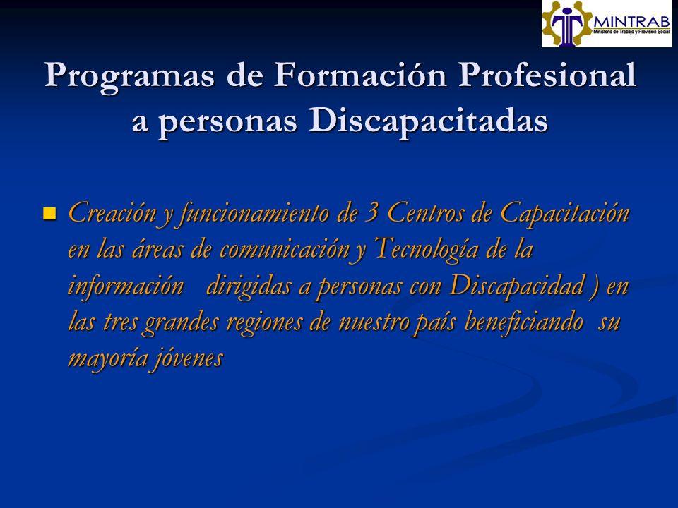 Programas de Formación Profesional a personas Discapacitadas Creación y funcionamiento de 3 Centros de Capacitación en las áreas de comunicación y Tec