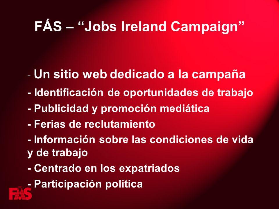 FÁS – Jobs Ireland Campaign - Un sitio web dedicado a la campaña - Identificación de oportunidades de trabajo - Publicidad y promoción mediática - Ferias de reclutamiento - Información sobre las condiciones de vida y de trabajo - Centrado en los expatriados - Participación política