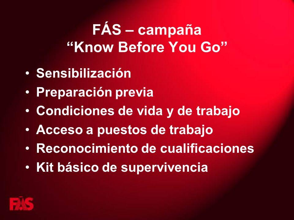 FÁS – campaña Know Before You Go Sensibilización Preparación previa Condiciones de vida y de trabajo Acceso a puestos de trabajo Reconocimiento de cualificaciones Kit básico de supervivencia