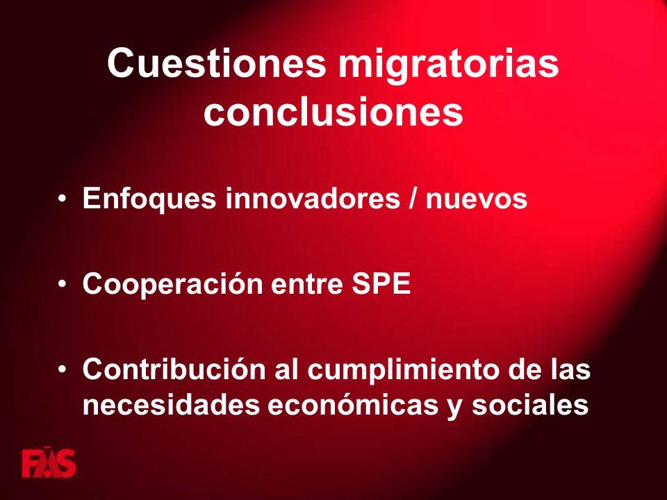 Cuestiones migratorias conclusiones Enfoques innovadores / nuevos Cooperación entre SPE Contribución al cumplimiento de las necesidades económicas y s