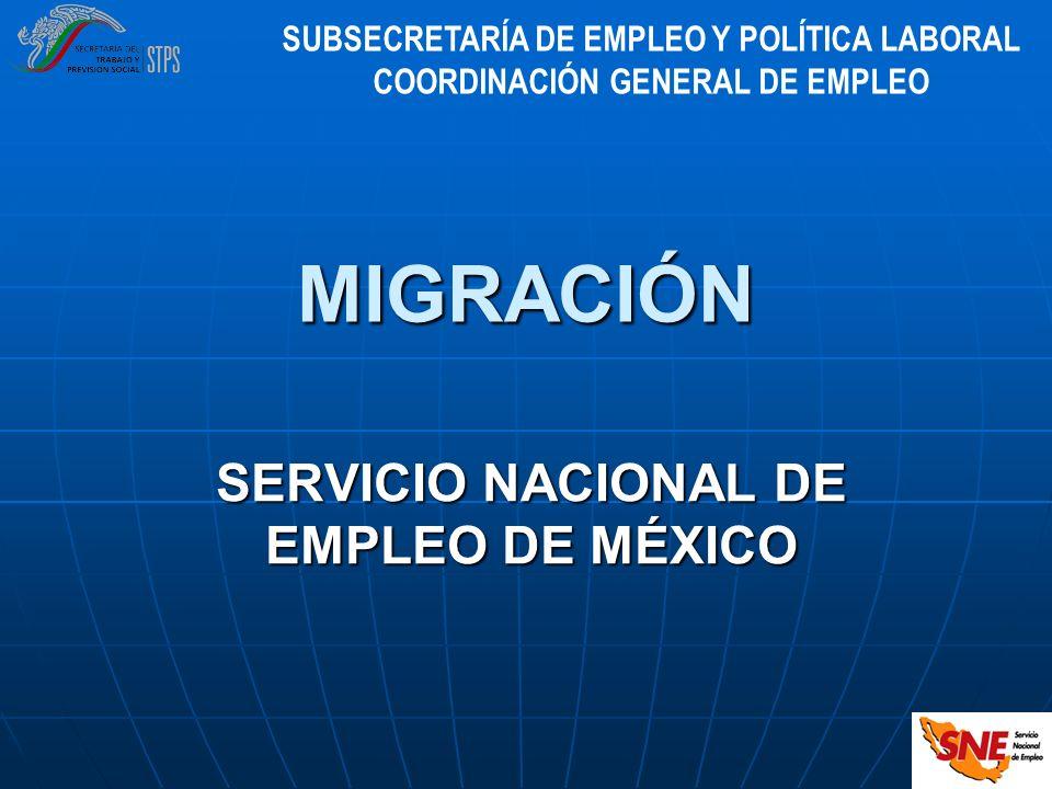 SERVICIO NACIONAL DE EMPLEO DE MÉXICO MIGRACIÓN SUBSECRETARÍA DE EMPLEO Y POLÍTICA LABORAL COORDINACIÓN GENERAL DE EMPLEO