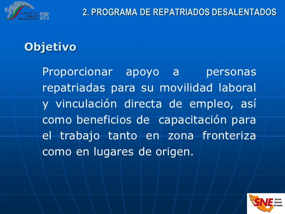 2. PROGRAMA DE REPATRIADOS DESALENTADOS Proporcionar apoyo a personas repatriadas para su movilidad laboral y vinculación directa de empleo, así como