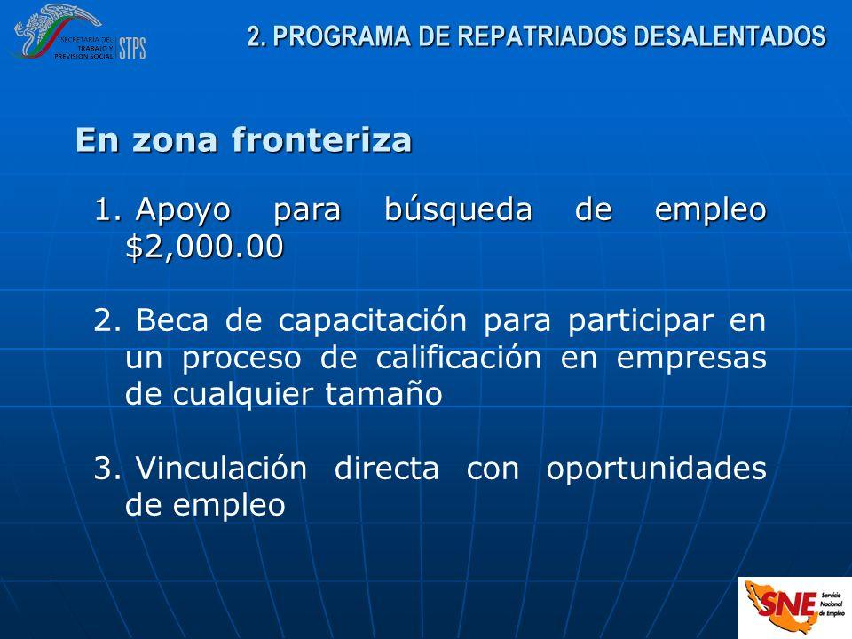 En zona fronteriza 1. Apoyo para búsqueda de empleo $2,000.00 2. Beca de capacitación para participar en un proceso de calificación en empresas de cua