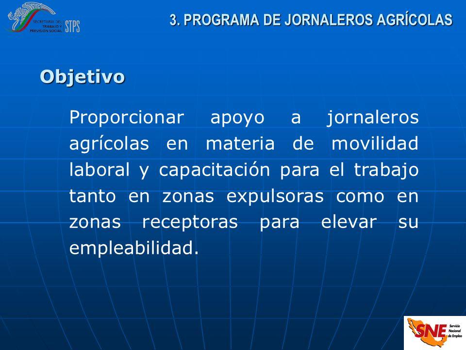 3. PROGRAMA DE JORNALEROS AGRÍCOLAS Proporcionar apoyo a jornaleros agrícolas en materia de movilidad laboral y capacitación para el trabajo tanto en