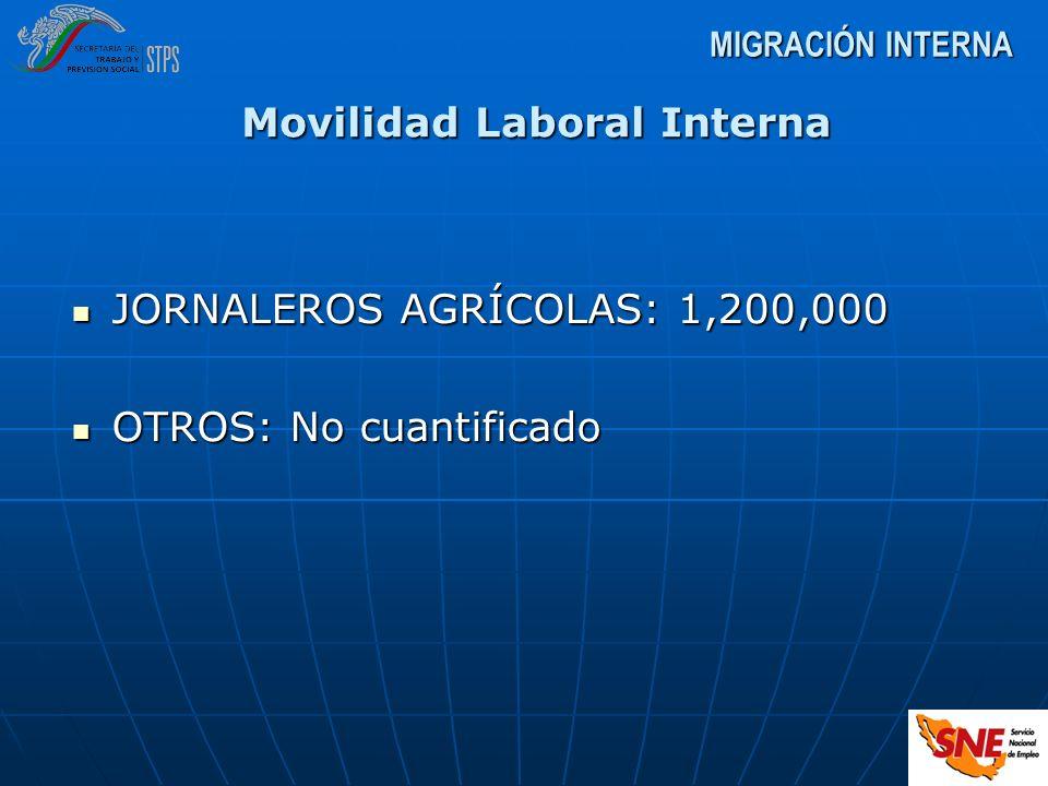 MIGRACIÓN INTERNA JORNALEROS AGRÍCOLAS: 1,200,000 JORNALEROS AGRÍCOLAS: 1,200,000 OTROS: No cuantificado OTROS: No cuantificado Movilidad Laboral Inte