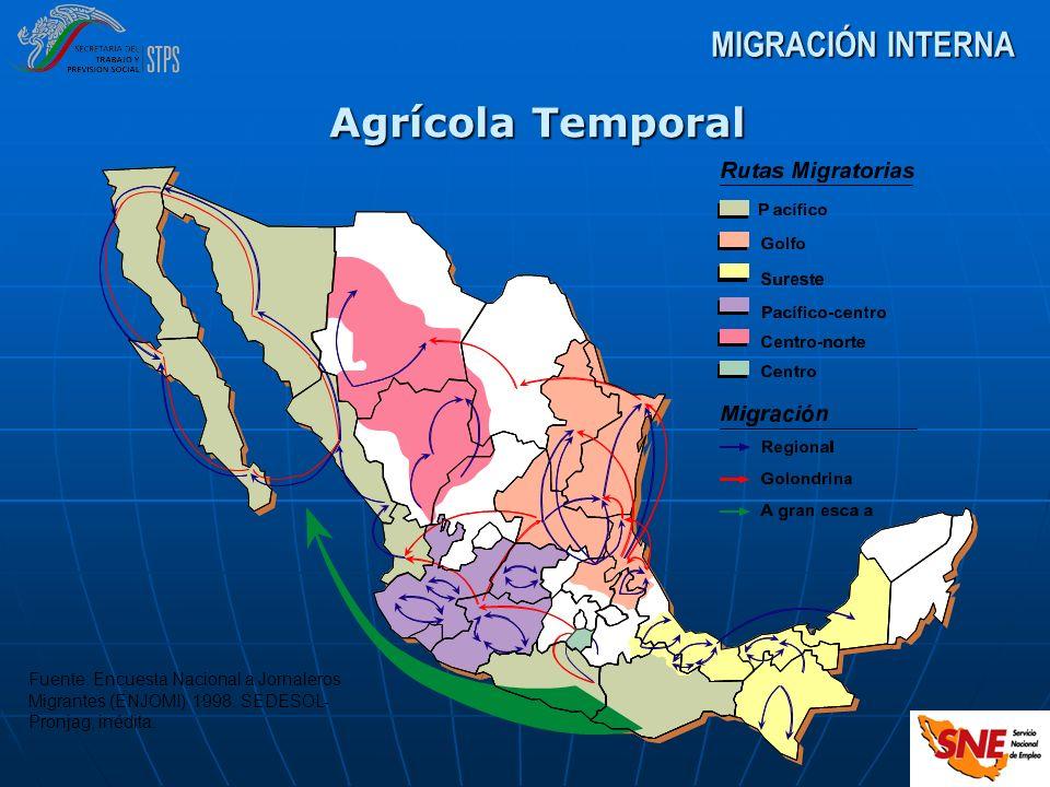 MIGRACIÓN INTERNA Agrícola Temporal