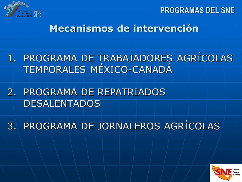 1.PROGRAMA DE TRABAJADORES AGRÍCOLAS TEMPORALES MÉXICO-CANADÁ 2.PROGRAMA DE REPATRIADOS DESALENTADOS 3.PROGRAMA DE JORNALEROS AGRÍCOLAS PROGRAMAS DEL