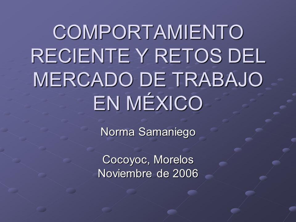 COMPORTAMIENTO RECIENTE Y RETOS DEL MERCADO DE TRABAJO EN MÉXICO Norma Samaniego Cocoyoc, Morelos Noviembre de 2006