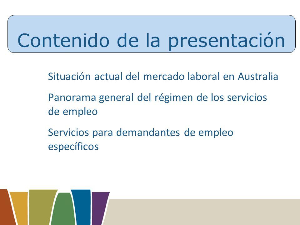Contenido de la presentación Situación actual del mercado laboral en Australia Panorama general del régimen de los servicios de empleo Servicios para demandantes de empleo específicos