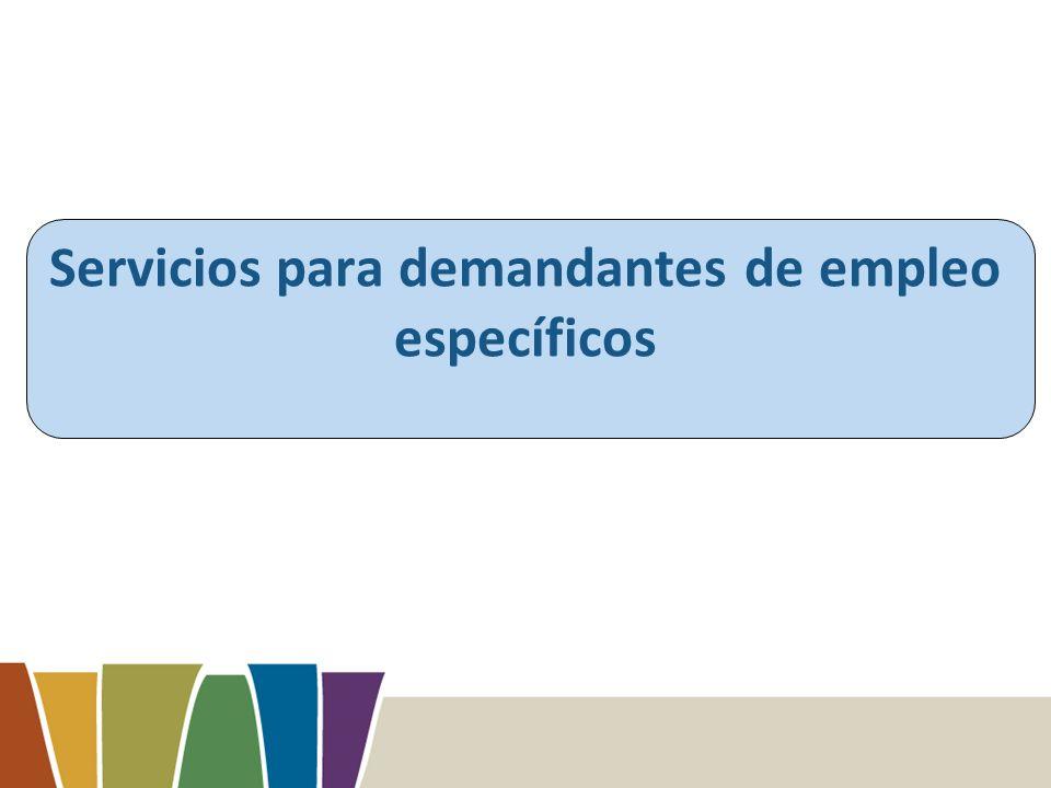 Servicios para demandantes de empleo específicos