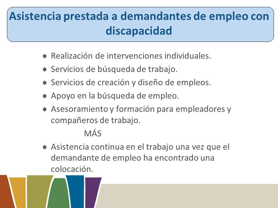 Asistencia prestada a demandantes de empleo con discapacidad Realización de intervenciones individuales.