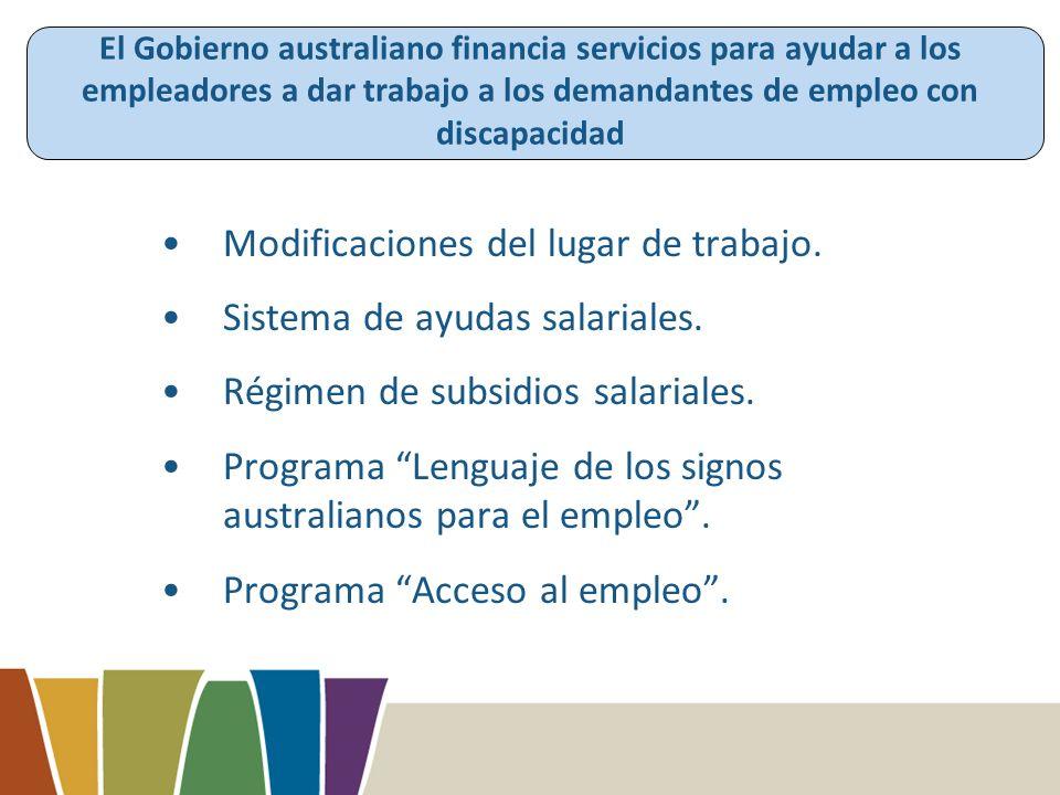 El Gobierno australiano financia servicios para ayudar a los empleadores a dar trabajo a los demandantes de empleo con discapacidad Modificaciones del lugar de trabajo.