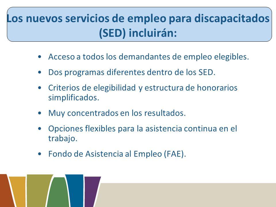 Los nuevos servicios de empleo para discapacitados (SED) incluirán: Acceso a todos los demandantes de empleo elegibles.