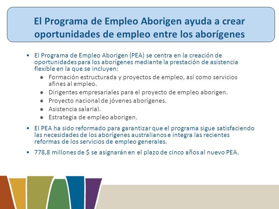 El Programa de Empleo Aborigen ayuda a crear oportunidades de empleo entre los aborígenes El Programa de Empleo Aborigen (PEA) se centra en la creación de oportunidades para los aborígenes mediante la prestación de asistencia flexible en la que se incluyen: Formación estructurada y proyectos de empleo, así como servicios afines al empleo.