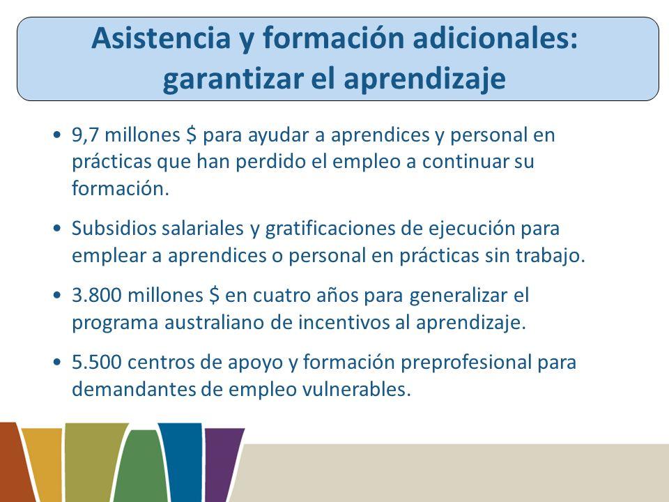 Asistencia y formación adicionales: garantizar el aprendizaje 9,7 millones $ para ayudar a aprendices y personal en prácticas que han perdido el empleo a continuar su formación.