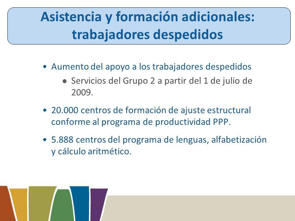 Aumento del apoyo a los trabajadores despedidos Servicios del Grupo 2 a partir del 1 de julio de 2009.
