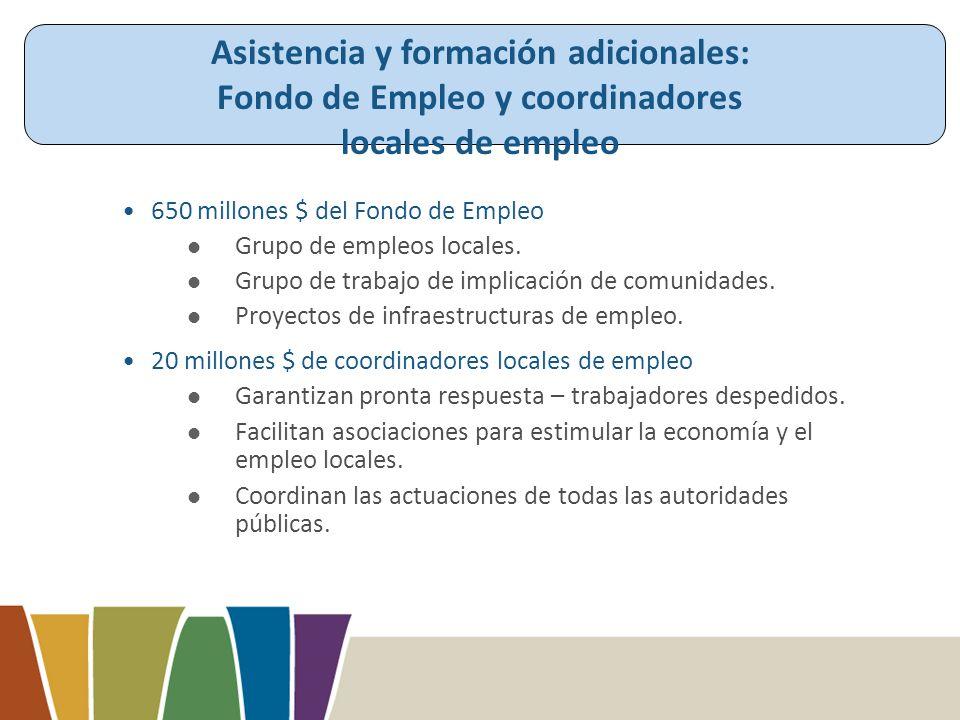 650 millones $ del Fondo de Empleo Grupo de empleos locales.