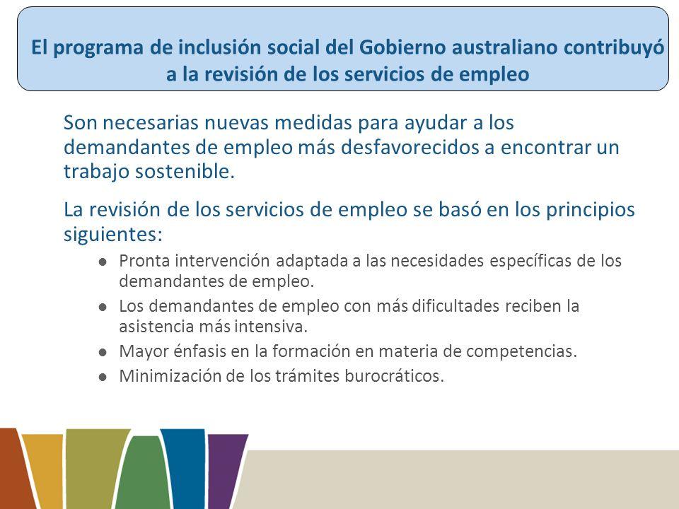 El programa de inclusión social del Gobierno australiano contribuyó a la revisión de los servicios de empleo Son necesarias nuevas medidas para ayudar a los demandantes de empleo más desfavorecidos a encontrar un trabajo sostenible.