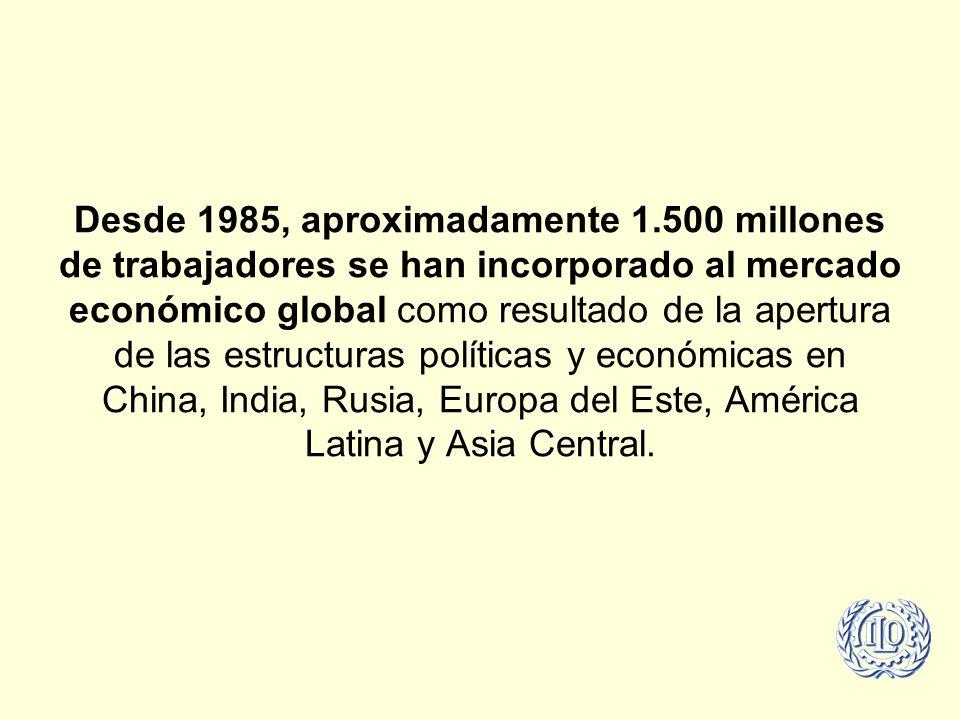 Desde 1985, aproximadamente 1.500 millones de trabajadores se han incorporado al mercado económico global como resultado de la apertura de las estructuras políticas y económicas en China, India, Rusia, Europa del Este, América Latina y Asia Central.