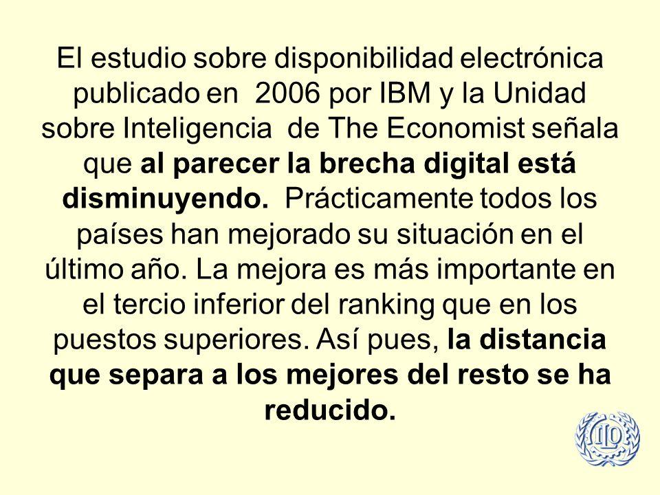 El estudio sobre disponibilidad electrónica publicado en 2006 por IBM y la Unidad sobre Inteligencia de The Economist señala que al parecer la brecha digital está disminuyendo.