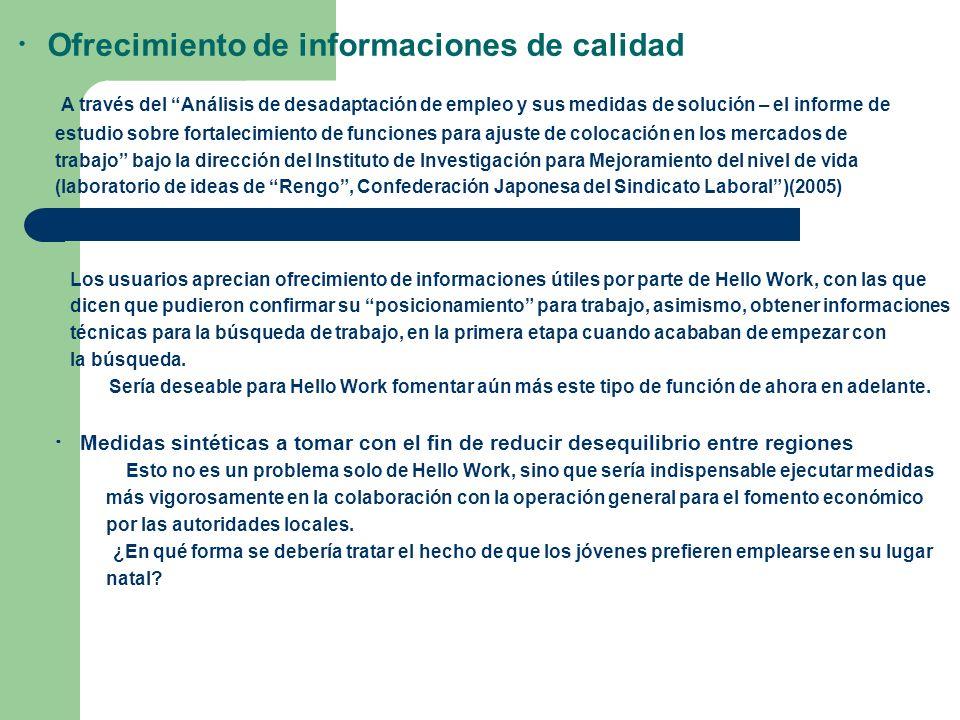Ofrecimiento de informaciones de calidad A través del Análisis de desadaptación de empleo y sus medidas de solución – el informe de estudio sobre fort