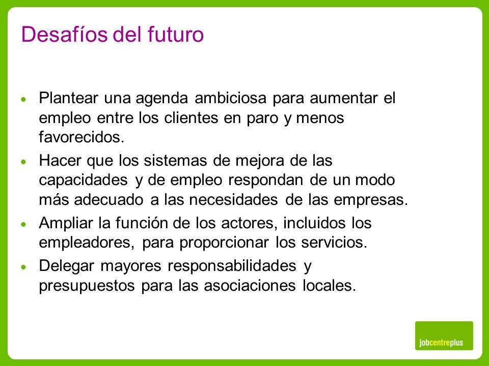 Desafíos del futuro Plantear una agenda ambiciosa para aumentar el empleo entre los clientes en paro y menos favorecidos.