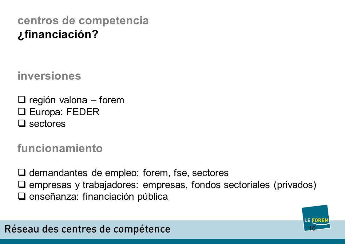 10 centros de competencia ¿financiación.
