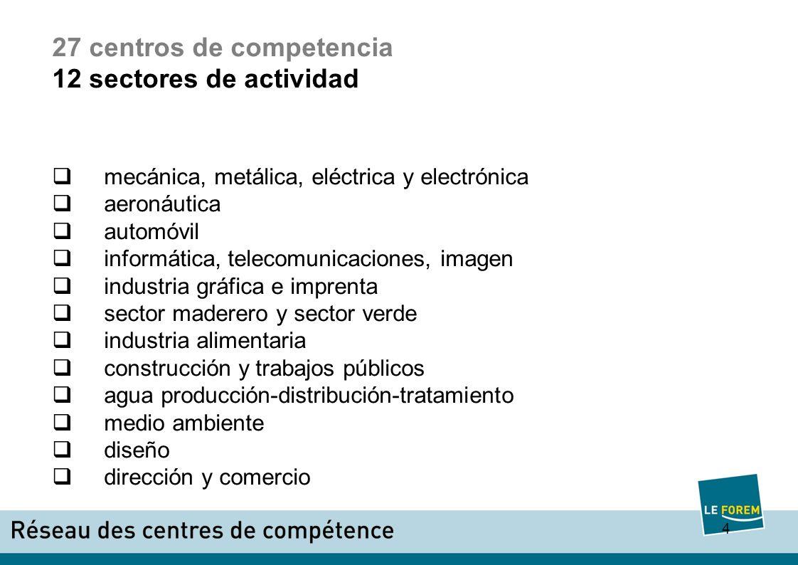 5 centros de competencia producción en 2008 4.493.754 horas de formación 101.359 formaciones - 36.310 trabajadores -21.303 demandantes de empleo -36.059 estudiantes y profesores