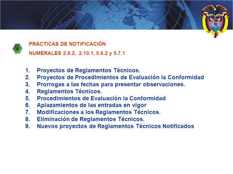 PRÁCTICAS DE NOTIFICACIÓN NUMERALES 2.9.2, 2.10.1, 5.6.2 y 5.7.1 1.Proyectos de Reglamentos Técnicos.