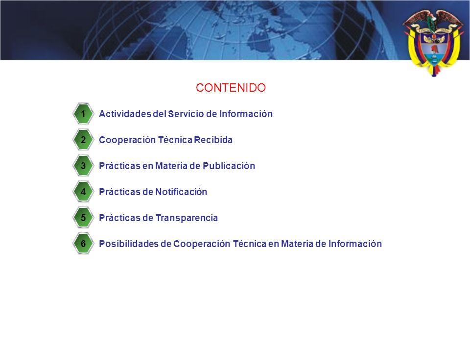 CONTENIDO Actividades del Servicio de Información Cooperación Técnica Recibida Prácticas en Materia de Publicación Prácticas de Notificación Prácticas de Transparencia 1 2 3 4 5 6Posibilidades de Cooperación Técnica en Materia de Información