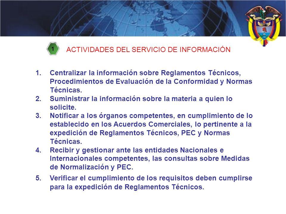 ACTIVIDADES DEL SERVICIO DE INFORMACIÓN 1.Centralizar la información sobre Reglamentos Técnicos, Procedimientos de Evaluación de la Conformidad y Normas Técnicas.