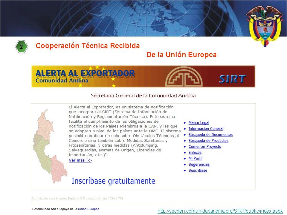Cooperación Técnica Recibida http://secgen.comunidadandina.org/SIRT/public/index.aspx 2 De la Unión Europea