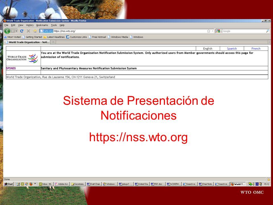 Sistema de Presentación de Notificaciones https://nss.wto.org