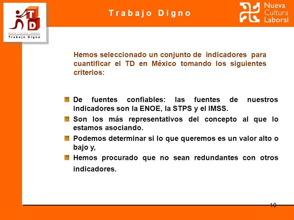 T r a b a j o D i g n o 10 Hemos seleccionado un conjunto de indicadores para cuantificar el TD en México tomando los siguientes criterios: De fuentes confiables: las fuentes de nuestros indicadores son la ENOE, la STPS y el IMSS.