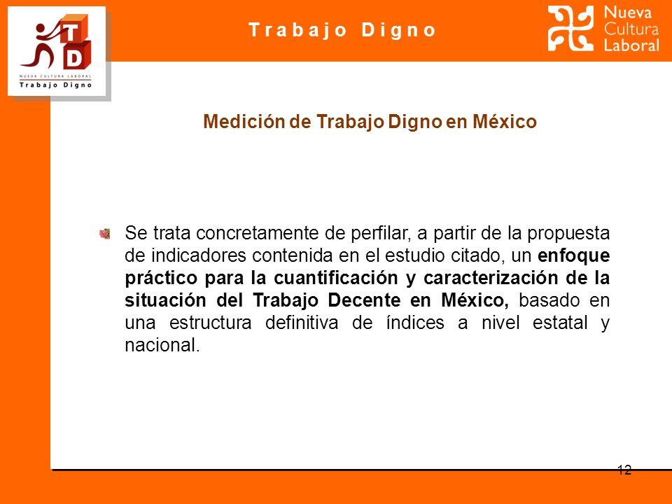 T r a b a j o D i g n o 12 Se trata concretamente de perfilar, a partir de la propuesta de indicadores contenida en el estudio citado, un enfoque práctico para la cuantificación y caracterización de la situación del Trabajo Decente en México, basado en una estructura definitiva de índices a nivel estatal y nacional.