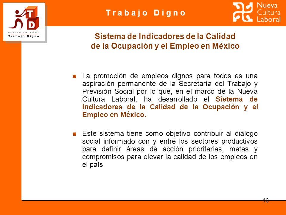 T r a b a j o D i g n o 13 La promoción de empleos dignos para todos es una aspiración permanente de la Secretaría del Trabajo y Previsión Social por lo que, en el marco de la Nueva Cultura Laboral, ha desarrollado el Sistema de Indicadores de la Calidad de la Ocupación y el Empleo en México.