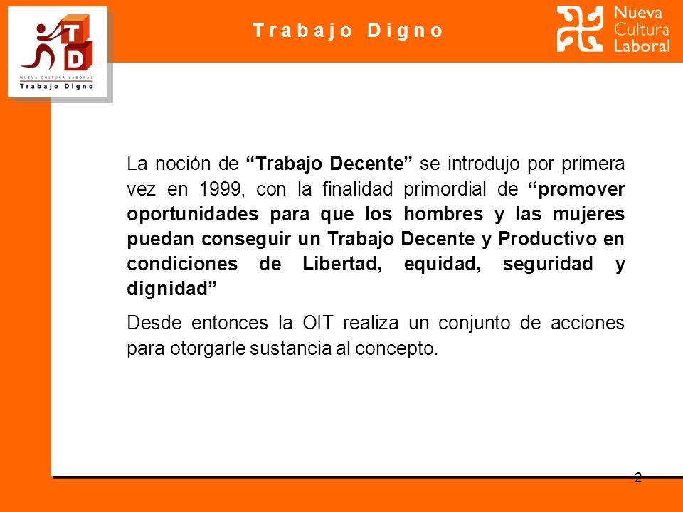 T r a b a j o D i g n o 2 La noción de Trabajo Decente se introdujo por primera vez en 1999, con la finalidad primordial de promover oportunidades par