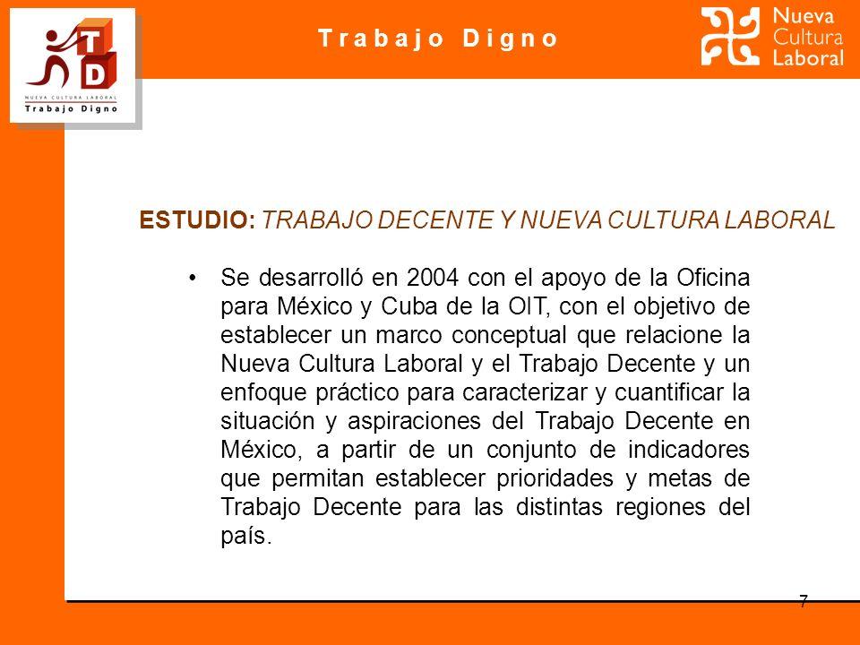 T r a b a j o D i g n o 7 Se desarrolló en 2004 con el apoyo de la Oficina para México y Cuba de la OIT, con el objetivo de establecer un marco conceptual que relacione la Nueva Cultura Laboral y el Trabajo Decente y un enfoque práctico para caracterizar y cuantificar la situación y aspiraciones del Trabajo Decente en México, a partir de un conjunto de indicadores que permitan establecer prioridades y metas de Trabajo Decente para las distintas regiones del país.