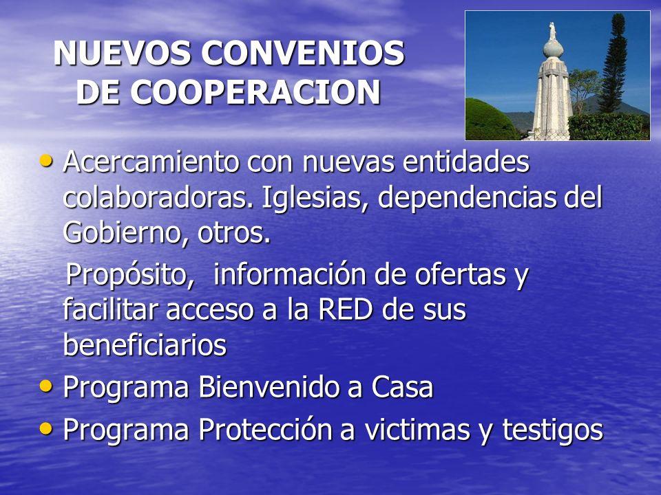 NUEVOS CONVENIOS DE COOPERACION Acercamiento con nuevas entidades colaboradoras.