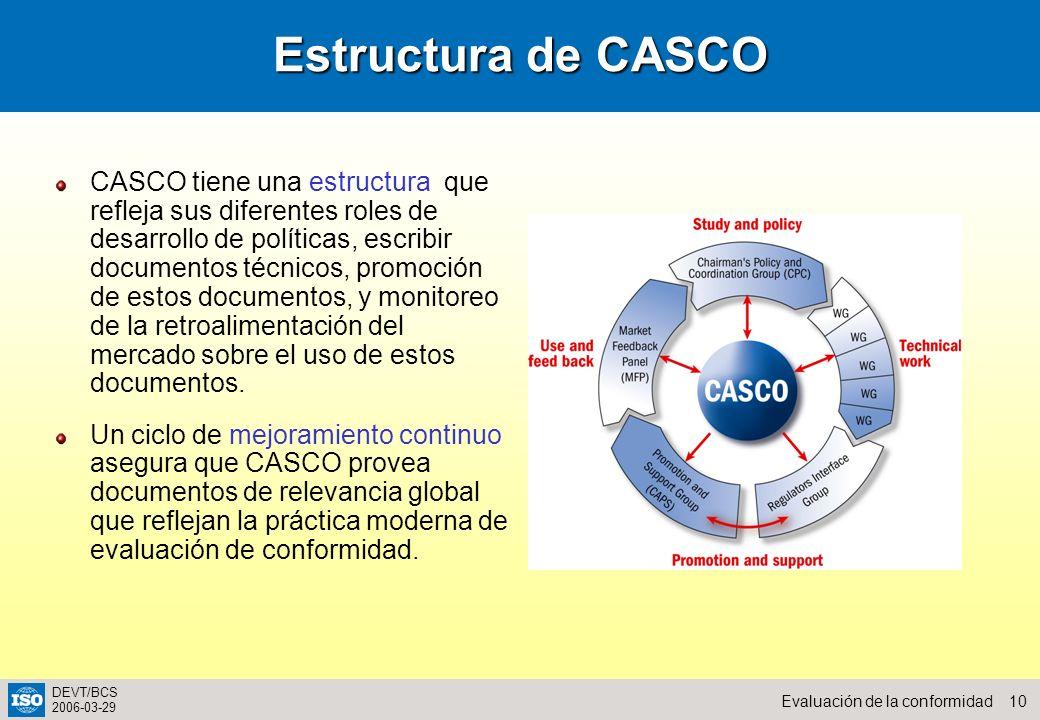10Evaluación de la conformidad DEVT/BCS 2006-03-29 Estructura de CASCO CASCO tiene una estructura que refleja sus diferentes roles de desarrollo de po