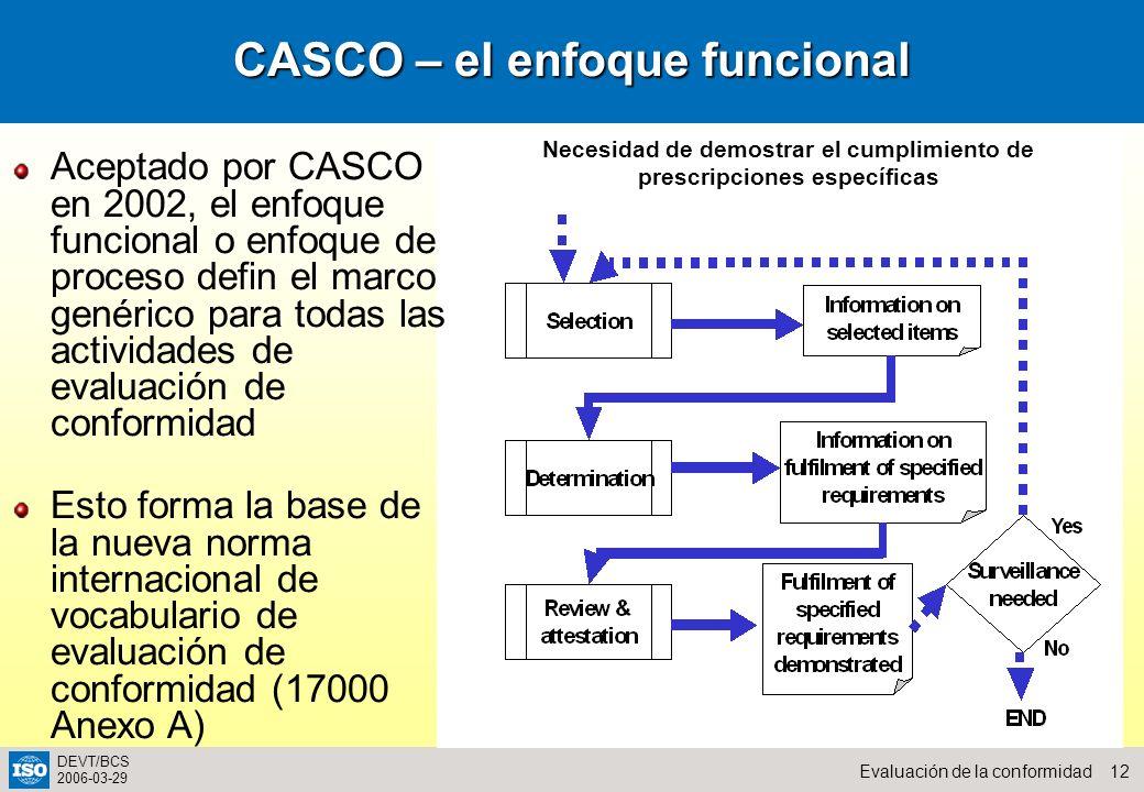 12Evaluación de la conformidad DEVT/BCS 2006-03-29 CASCO – el enfoque funcional Aceptado por CASCO en 2002, el enfoque funcional o enfoque de proceso