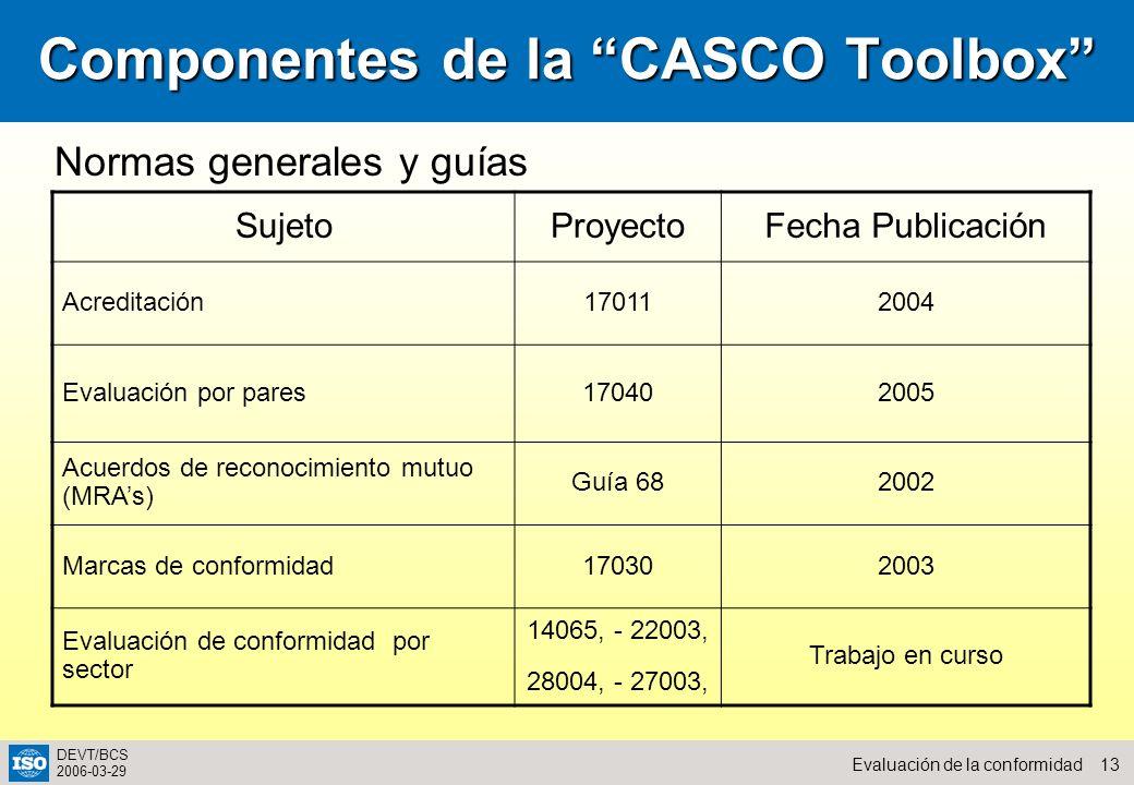 13Evaluación de la conformidad DEVT/BCS 2006-03-29 Componentes de la CASCO Toolbox SujetoProyectoFecha Publicación Acreditación170112004 Evaluación po