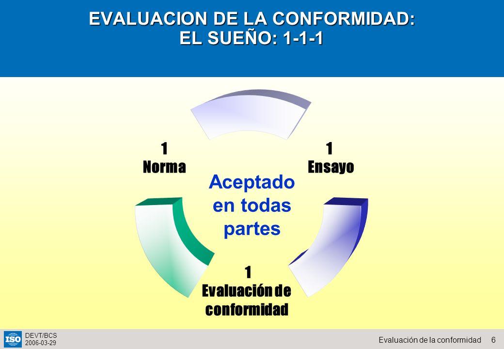 6Evaluación de la conformidad DEVT/BCS 2006-03-29 EVALUACION DE LA CONFORMIDAD: EL SUEÑO: 1-1-1 1 Ensayo 1 Evaluación de conformidad 1 Norma Aceptado