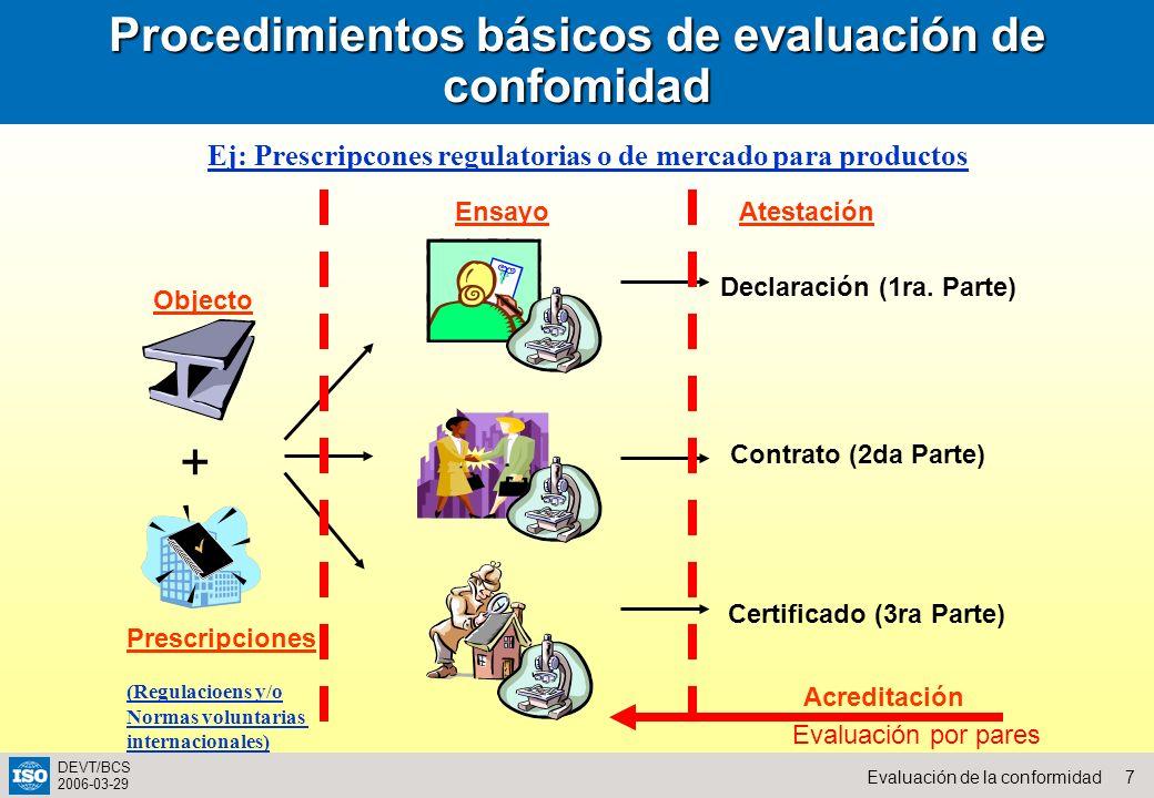 7Evaluación de la conformidad DEVT/BCS 2006-03-29 Procedimientos básicos de evaluación de confomidad Objecto EnsayoAtestación Declaración (1ra. Parte)