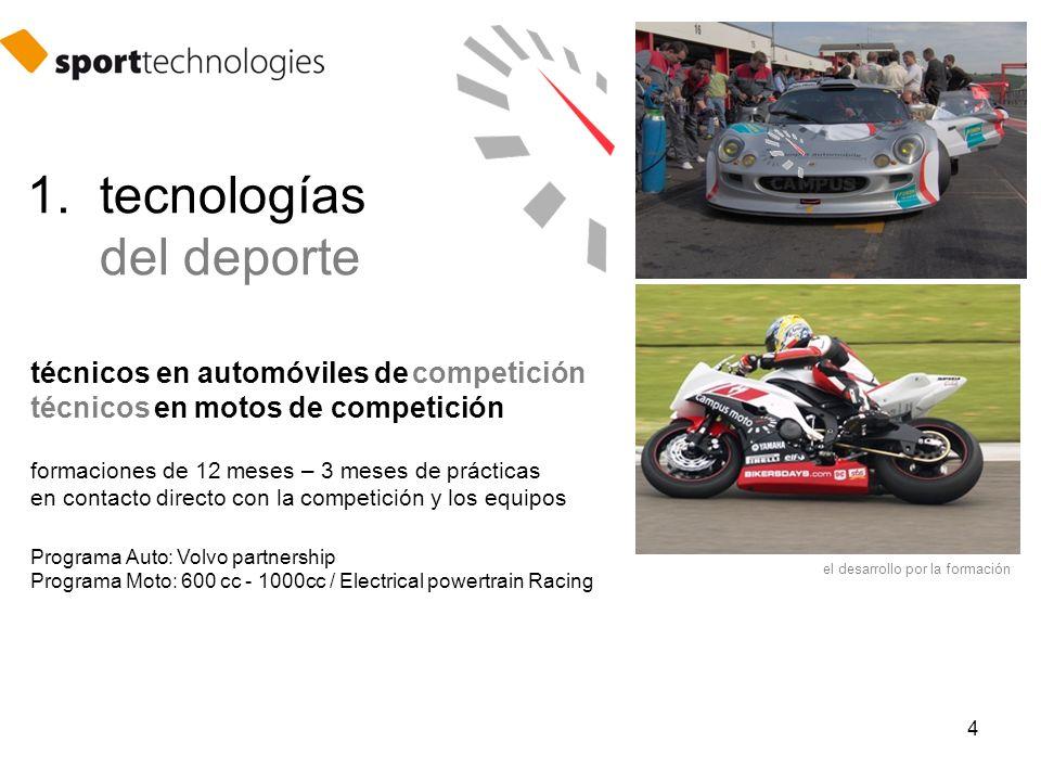 4 técnicos en automóviles de competición técnicos en motos de competición formaciones de 12 meses – 3 meses de prácticas en contacto directo con la competición y los equipos Programa Auto: Volvo partnership Programa Moto: 600 cc - 1000cc / Electrical powertrain Racing el desarrollo por la formación 1.