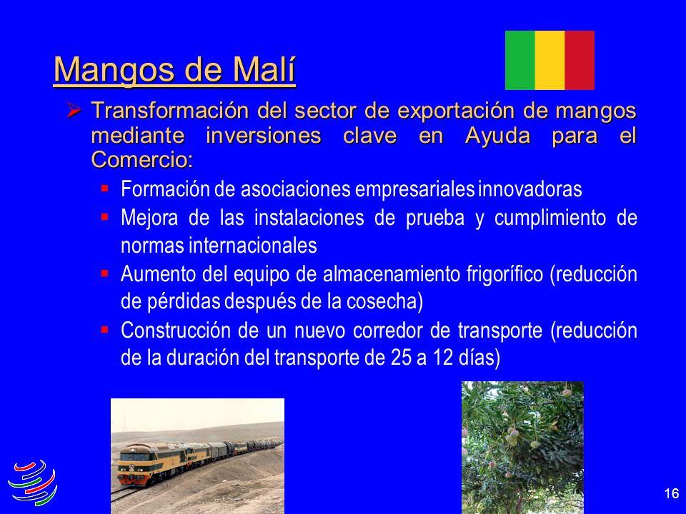 16 Mangos de Malí Transformación del sector de exportación de mangos mediante inversiones clave en Ayuda para el Comercio: Transformación del sector d