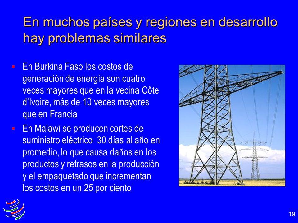 19 En Burkina Faso los costos de generación de energía son cuatro veces mayores que en la vecina Côte dIvoire, más de 10 veces mayores que en Francia